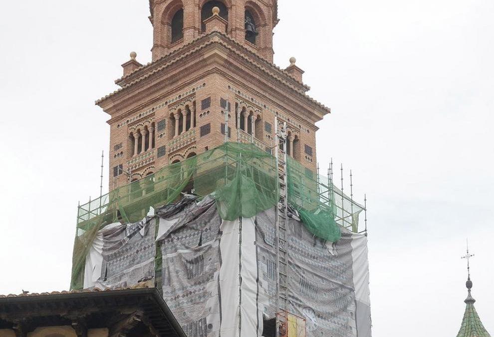 Noticia Heraldo de Aragón: En Teruel, comienzan a retirar los andamios de la torre de la catedral tras el avance en su restauración