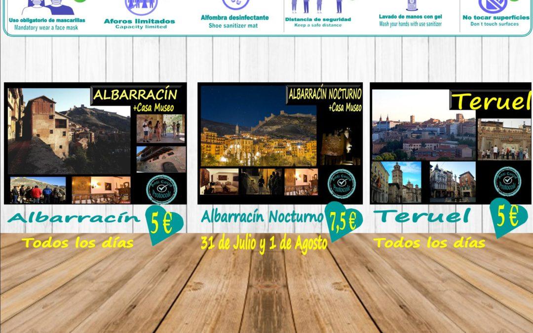 Esta semana…TURISMO RESPONSABLE Y SEGURO: Albarracín y Teruel todos los días y Viernes y Sábado… Albarracín Nocturno + Casa Museo!